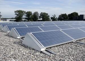 Zonnepanelen op plat dak in Zwolle.