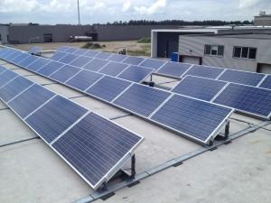 Zonnepanelen op plat dak in Hasselt.